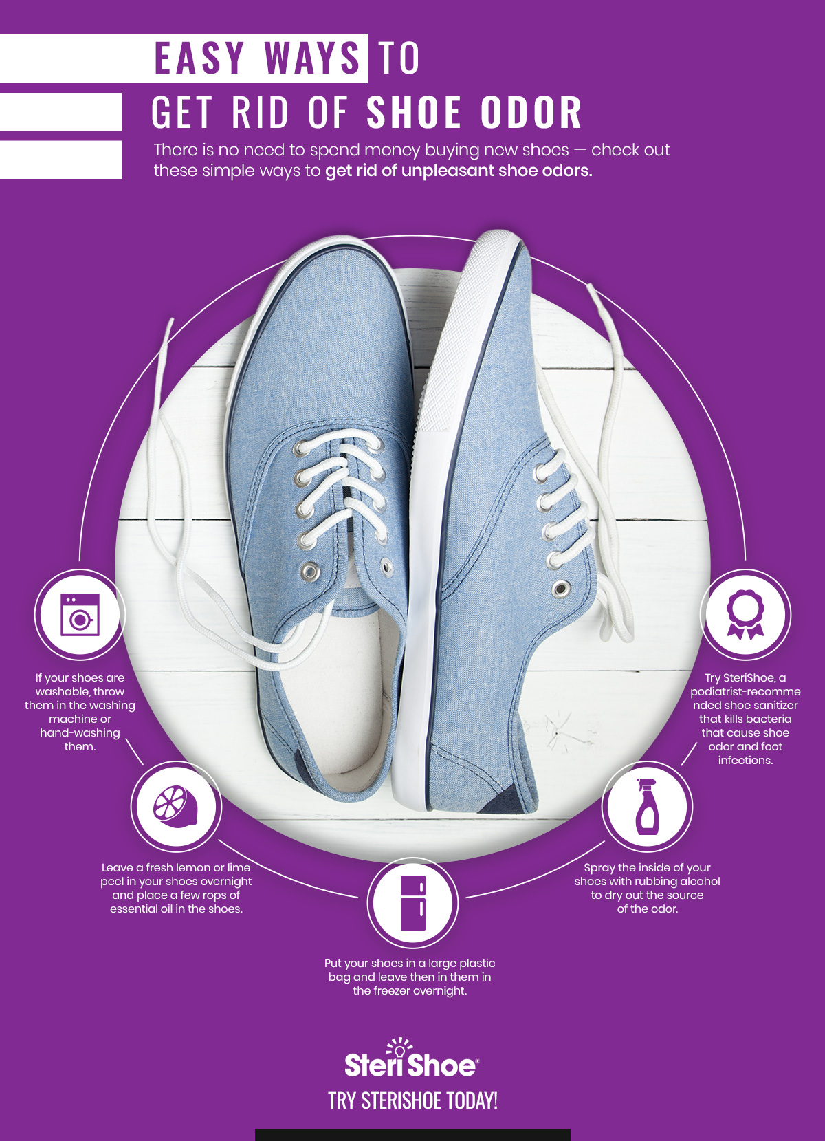 Easy Ways to Get Rid of Shoe Odor Infographic